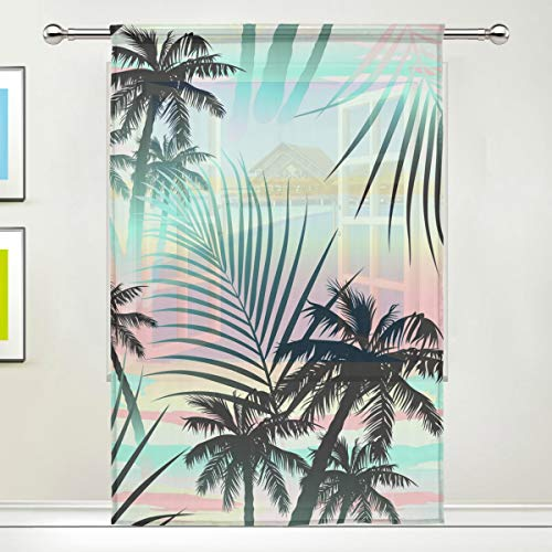WXLIFE Window Sheer Curtain 1 Panel, Summer Tropical Palm Tree Leaves Tulle Voile Curtain Drapes Panels for Bedroom Living Room Decor, 55x78 Inch