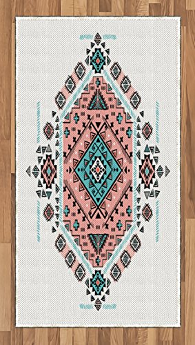 Ambesonne Tribal Area Rug, Mexican Native American Ethnic Symmetrical Design Four Corner Art Pattern, Flat Woven Accent Rug for Living Room Bedroom Dining Room, 2.6 x 5 FT, Teal and Coral Pink by Ambesonne