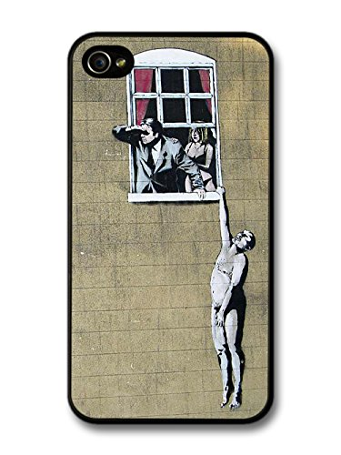Banksy Hanging out of Window Street Art iPhone 4 4S case