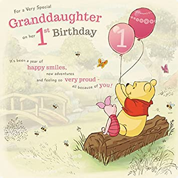 Amazon Winnie The Pooh Granddaughter 1st Birthday Card
