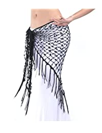 ZYZF Women's Belly Dance Egyptian Triangle Shawl Sequins Hip Scarf Tassels