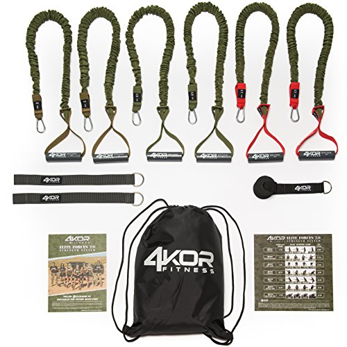 Resistance Band Set by 4KOR Fitness, Strength and Performance System (3 Levels w/Rack Straps & Door Anchor)