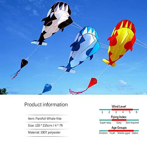 3D Kite Huge Frameless Soft Parafoil Giant Whale Flying Kite Beach Outdoor Sports Beach Kite Easy to Fly 30m Flying Line