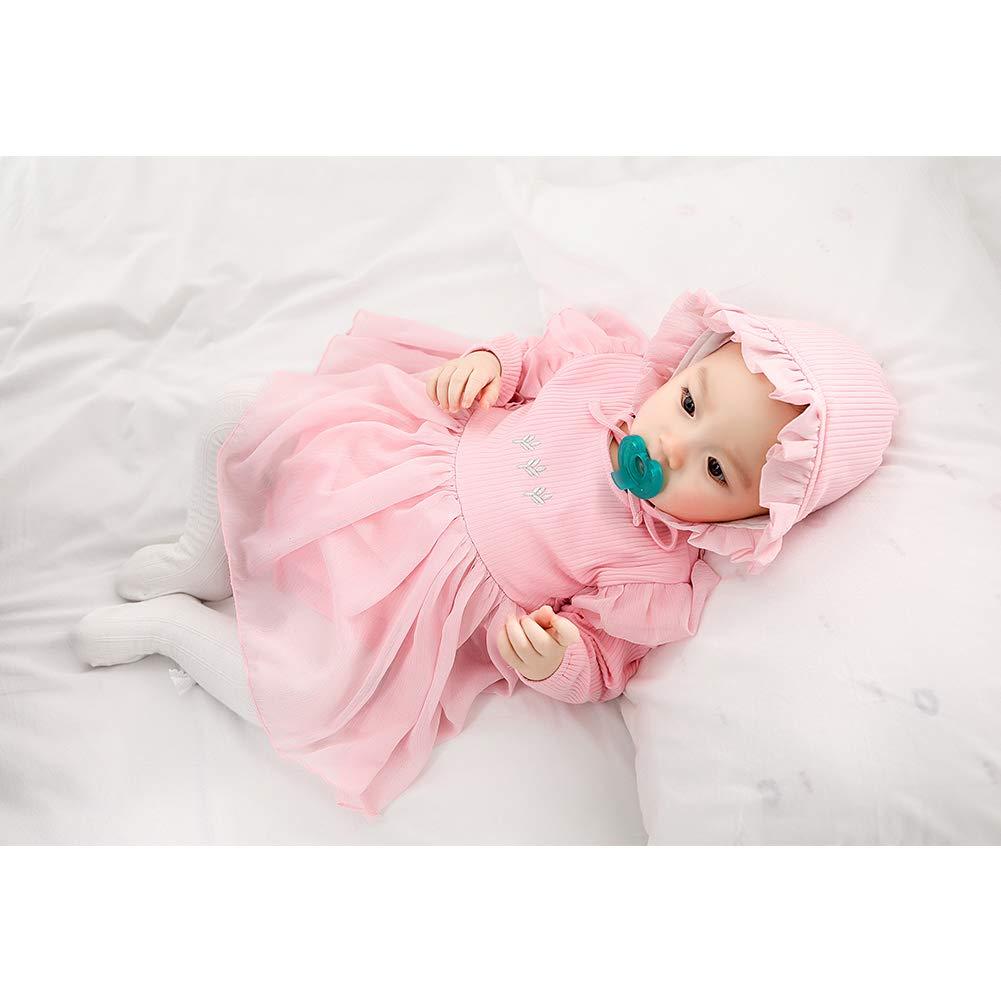 Neonato Baby Girl ricamo chiffon del filato delle tute del pagliaccetto del cotone delle tute del manicotto lungo tuta fototecnica vestiti con cappello rosa 80 centimetri