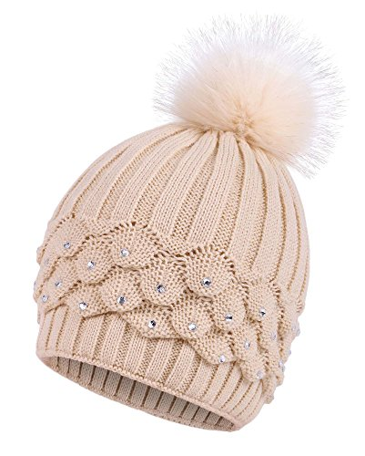 (Arctic Paw Cable Knit Beanie with Sequins and Faux Fur Pompom, Cream)