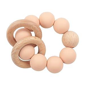 Wooden Baby Teething Toy-Teether Nursing Bracelet Silicone Teething Beads-Food Grade Silicone Molar Toys-Organic Kids Molar Bracelet Made of Natural Wood (Pink)