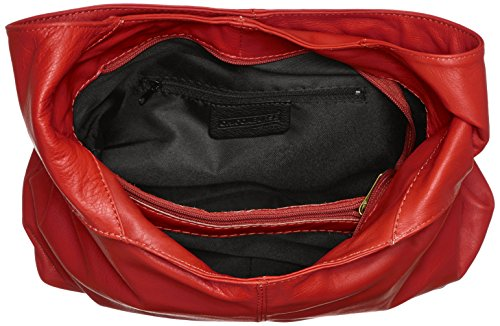 véritable cuir Italy dans sac 41x55x12cm en 100 femme Rouge la fermeture sac main in Rosso Made bandoulière éclair à CTM à B6UgwAOqU