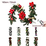 Valery Madelyn Pre-Lit Luxury 72 Inch 6Feet Red and Gold Christmas Garland with Shatterproof Ball Ornaments - Ribbon and Artificial Simulation Flower - Battery Operated 20 LED Lights with Remote Timer