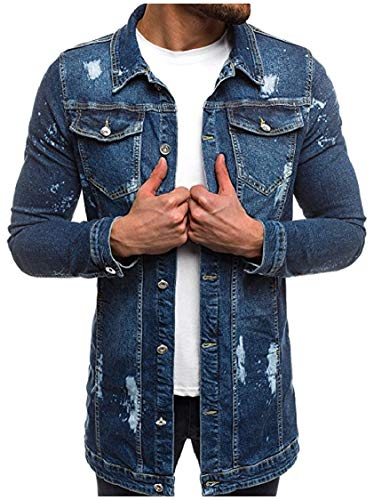 Energy Faded Mens Front Dark Washed Denim Lapel Silm Open Collar Classic Jackets Fit Blue gqgwrId
