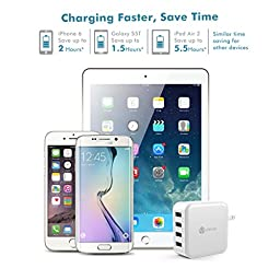 iClever BoostCube 40W 4-Port Universal USB Wall Charger with SmartID Technology, 8A Charging Station for iPhone 7/6s/iPad, External Battery Pack, Bluetooth Speaker and more, White