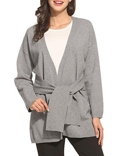 Zeela Women's Casual V-Neck Long Sleeve Open Front Belt Waist Knitwear Coat Sweater ()