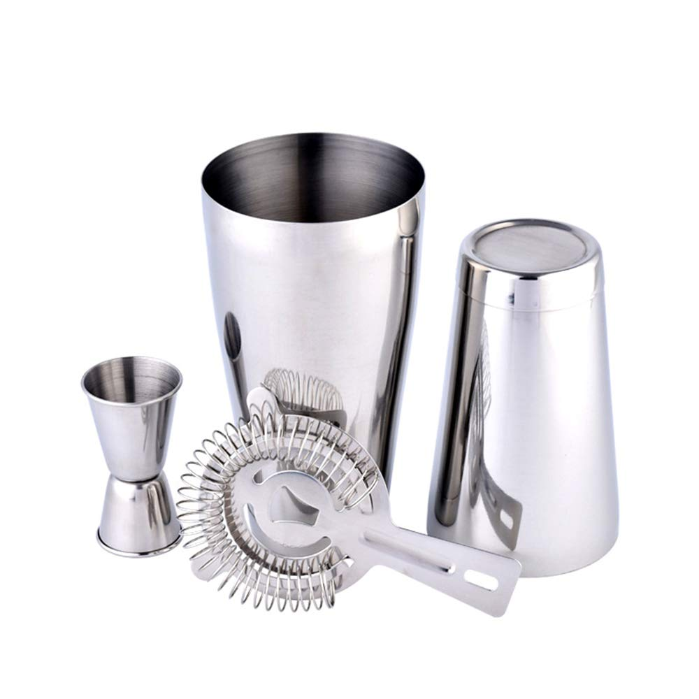 Edelstahl-Barware Kit 3 Pcs Cocktail Shaker Set mit Eisfilter, Doppel-Jigger, Stirrer, Made of Brushed Edelstahl für Familienmitglieder und Unterhaltungsgäste B07MBM8541 Cocktailshaker