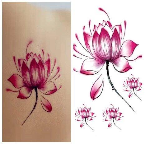 Set of 5 Waterproof Temporary Tattoo Stickers Cute Pink Red Lotus Flowers Design