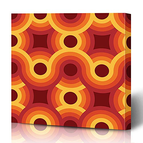 Ahawoso Canvas Prints Wall Art 16x16 Inches Upholstery Pattern Geometric Vintage 70S Minimalistic 60S Retro Groovy Design Art Decor for Living Room Office Bedroom