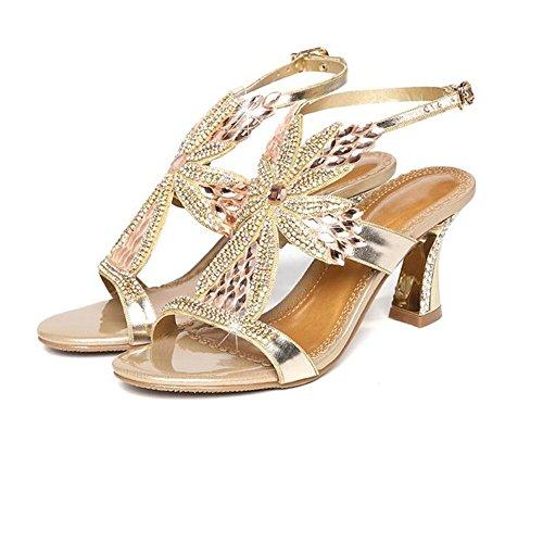 Sexy Sandalias de Verano Tacon Golden Cómodo Diamante Shishang Cuero Mujer Cristal Delgada Alto de Diamante Señoras Sandalias Zapatos Verano Zapatos Top de HAq5xw