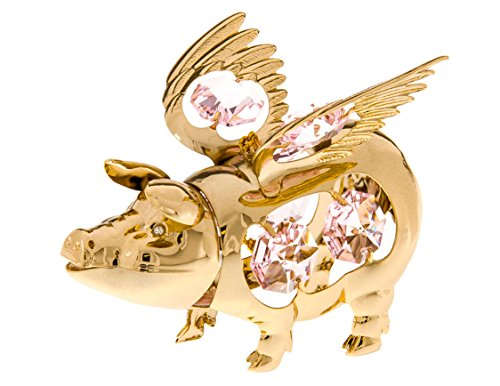 Flying Pig 24k Gold Plated Ornament with Pink Swarovski C...