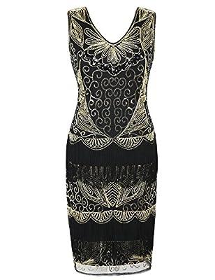 PrettyGuide Women's Flapper Dress Beaded Deco Fringed Inspired Vintage 1920s Dress