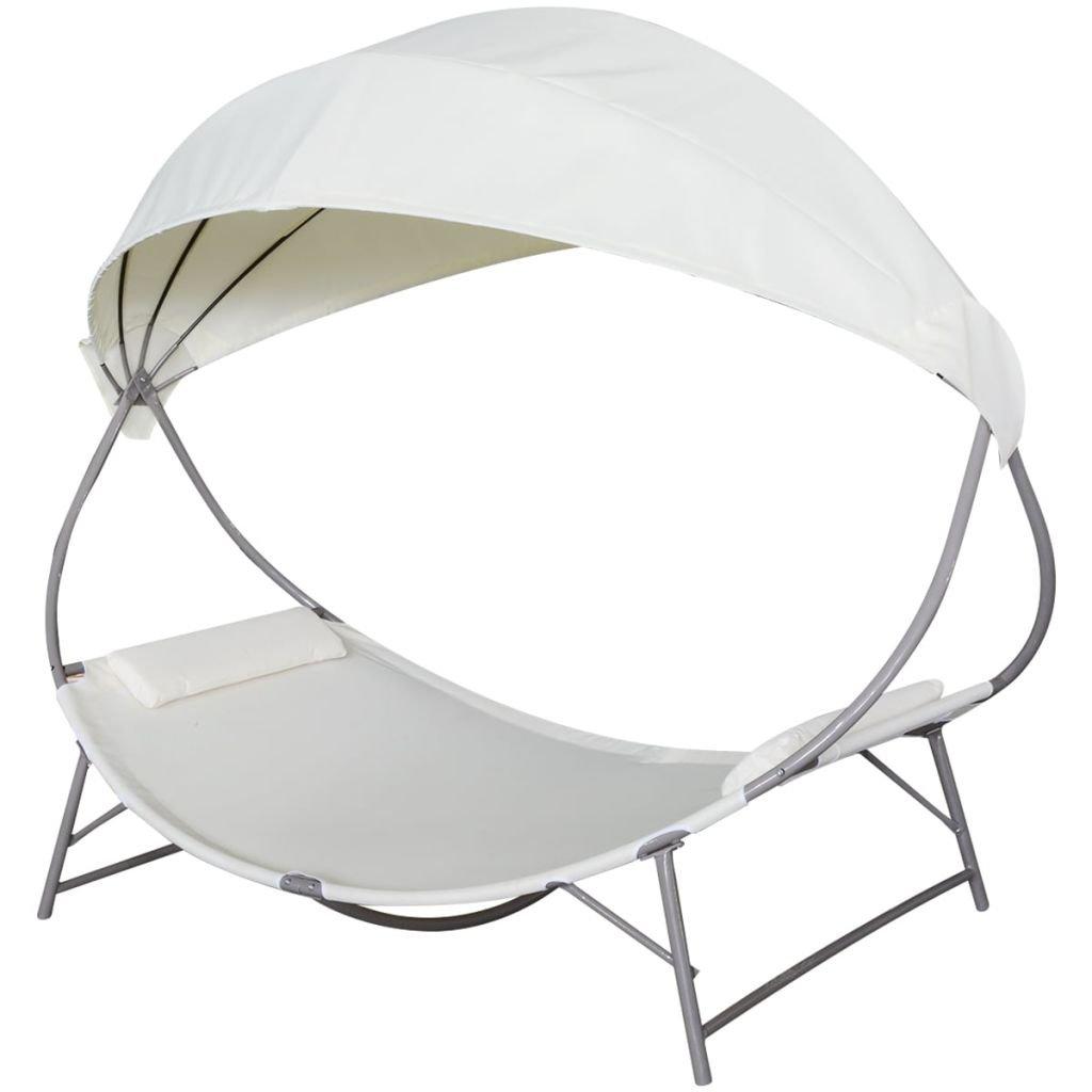 vidaXL Chaise longue avec auvent blanc crème Transat Bain de soleil de jardin