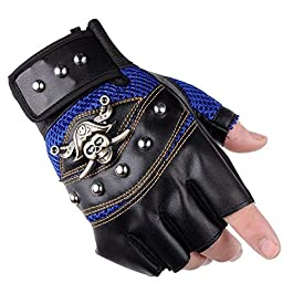 AlexVyan Imported 1 Pair Blue and Black Pirates Gloves Outdoor Gloves Protective Half Finger Hand Riding, Cycling, Bike…