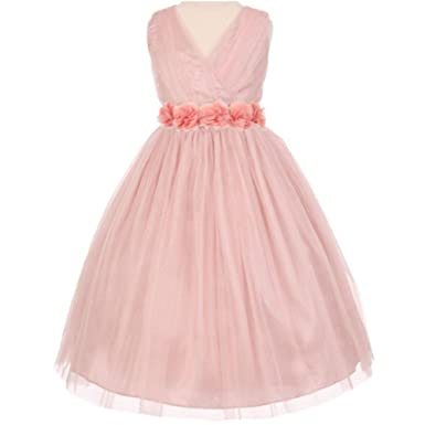 887be9fe5 Little Girls Fabulous Pleated Sleeveless Crystal Tulle Chiffon Floral Satin  Sash Flower Girl Dress Dusty Rose