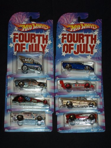 Hot Wheels 2008 Fourth Of July Series COMPLETE SET OF 8 VEHICLES Riley & Scott MK III / Hammered Coupe / '57 Chevy / Vairy 8 / Saleen S7 / Draggin Wagon / Corvette SR-2 / and Chevy S-10 Pro Stock Wal-Mart Exclusive