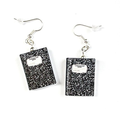 COMPOSITION NOTEBOOK Clay Mini Book HYPOALLERGENIC Earrings by Book Beads