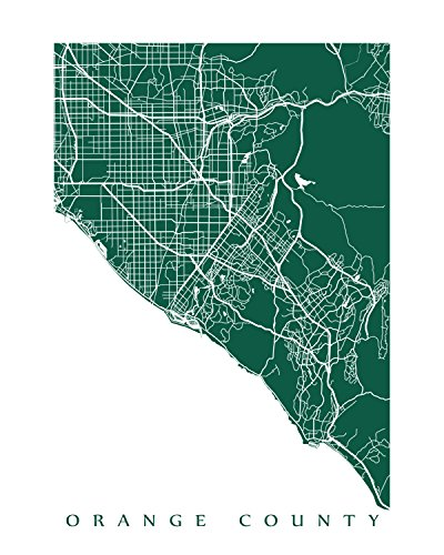 image about Printable Map of Orange County Ca called : Orange County Map Print: Home made
