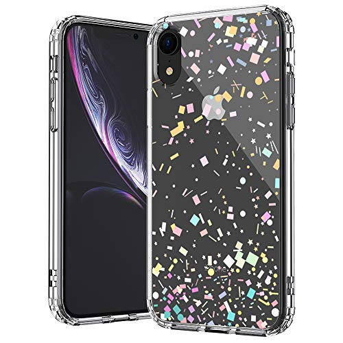 MOSNOVO iPhone XR Case, Clear iPhone XR Case, Colorful Confetti Pattern Clear Design Transparent Plastic Hard Back Case with Soft TPU Bumper Protective Case Cover for Apple iPhone - Transparent Case Clear Plastic
