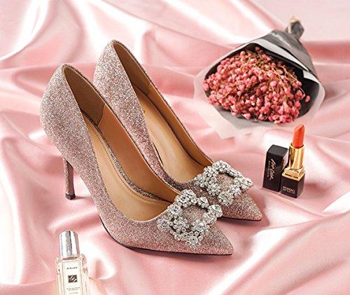 Acentuados Zapatos Boda 6cm Tacones Altos Poco De 8 Mujeres Punta 10  Diamantes Profundas Las Lentejuelas ... 3716b53c6be7