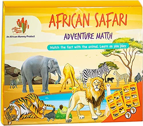African Safari Adventure Match Game – Educational Family Board Games for Kids Age 6 and up with 4 Animal Puzzle Boards, 24 Cooperative Flash Cards – Have Fun While Learning Classic Wild African Facts