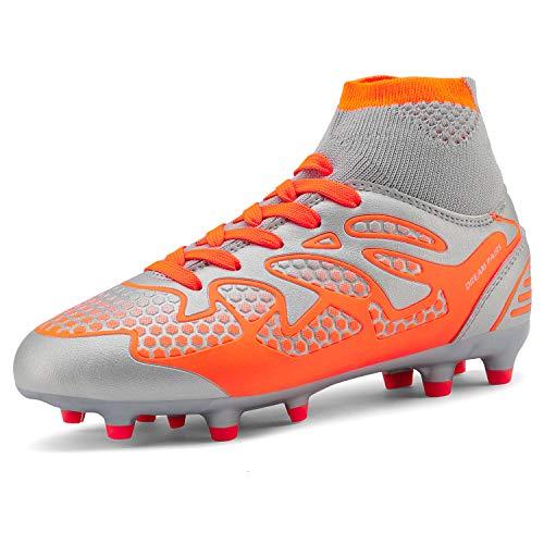 DREAM PAIRS Big Kid 160858-K Light Grey Orange Fashion Soccer Football Cleats Shoes Size 6 M US Big Kid