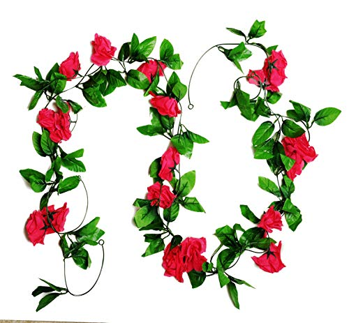 MagicZoo 2Pack(18 Rose Flowers) 15FT Artificial Rose Vine Silk Flower Garland Fake Hanging Rose Flower Plant for Home Office Garden Hotel Wedding Party Decor (2pc Rose) ()
