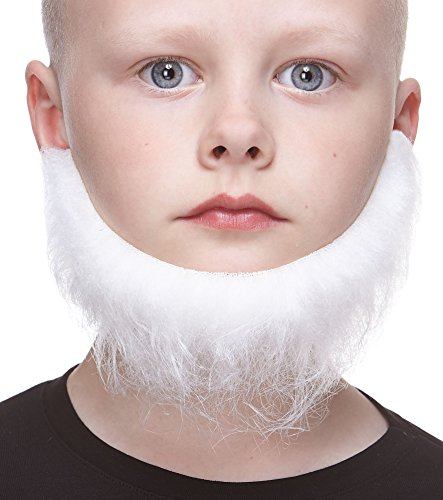 Mustaches Fake Beard, Self Adhesive, Novelty, Realistic, Small Morman False Facial Hair, Costume Accessory for Kids, White -