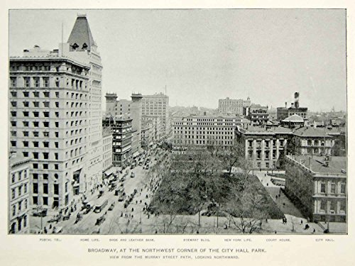 1893 Print Broadway New York City Hall Park Street Buildings Historic Image NY2A - Original Halftone - Broadway Images Of New York