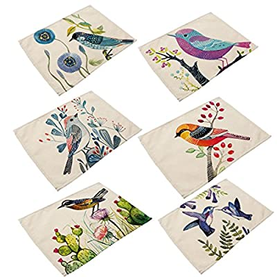 Cotton Linen Placemats, YIFAN 6Pcs Bird Pattern Dining Table Mats for Home Kitchen Office