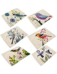 cotton linen placemats yifan 6pcs bird pattern dining table mats for home kitchen office - Kitchen Table Mats