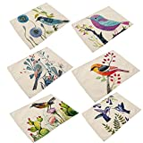 Kitchen Table Placemats Cotton Linen Placemats, YIFAN 6Pcs Bird Pattern Dining Table Mats for Home Kitchen Office