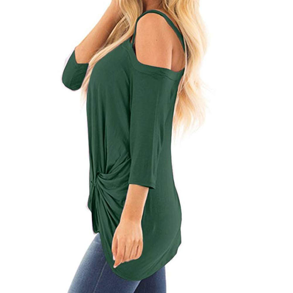 iQKA Women Oblique Off Shoulder Tee Shirt 3/4 Sleeve Knot Blouse Tunic Top(Green,Medium by iQKA (Image #4)