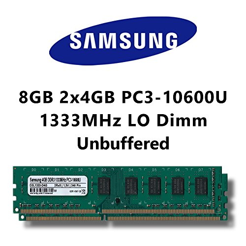 Samsung 8GB (2x 4GB) Dual-Channel Kit DDR3 1333MHz (PC3 10600U) LO Dimm Computer PC Desktop Arbeitsspeicher RAM Memory