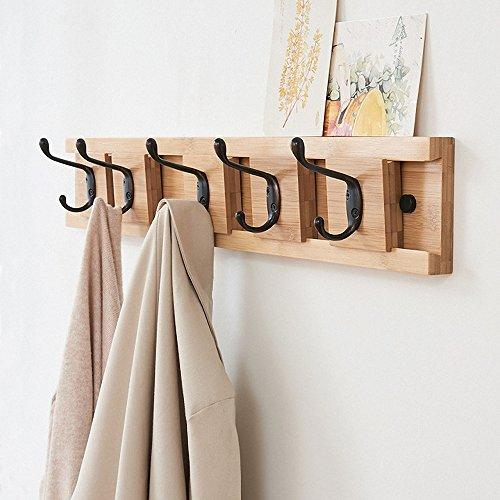 - Genenic Removable Hanging Coat Wall Mounted Coat Rack Hooks bamboo