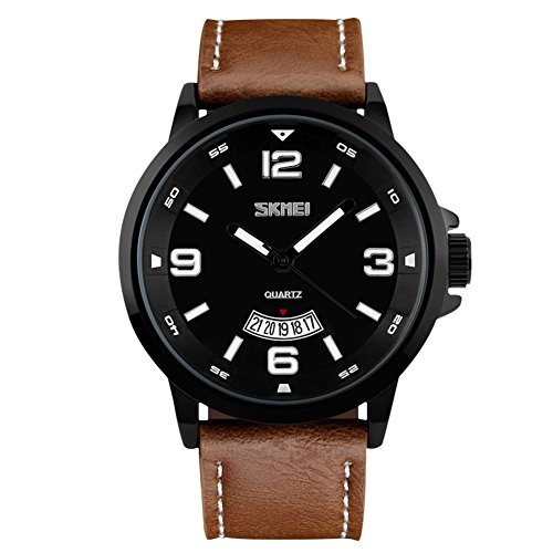 Men's Quartz Watch with Large Face Leather Band 30M Waterproof Auto Date Wrist Watches - Brown Strap (Leather Numbers Band Black)