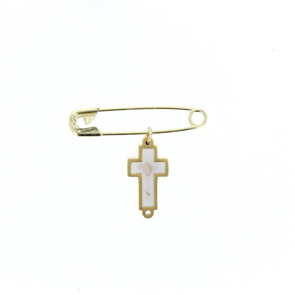 DiamondJewelryNY Cross Pendant Cross Brass Cross Charm with Brass Safety Pin to Hook