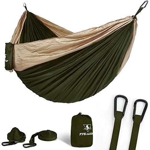 - pys Double Portable Camping Hammock with Straps Outdoor -Nylon Parachute Hammock with Tree Straps Set with Max 1200 lbs Breaking Capacity, for Backpacking, Hiking, Travel (Olive Green+Khaki)