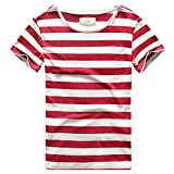 Zecmos Men T-Shirts Stripes Tshirts Casual Slim Fit Male Striped Tees Top Red L