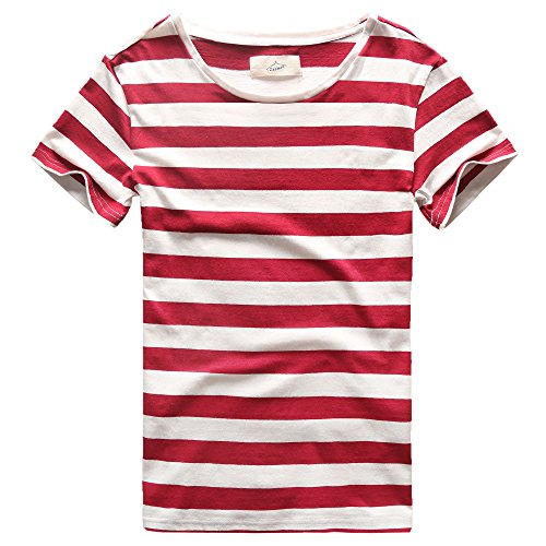 Zecmos Mens Striped T-Shirt Casual Slim Fit Striped Tees Tops Red XXL
