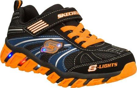 (Skechers Infant/Toddler Boys' S Lights Pillar Ignus,Black/Orange,US 6 M)