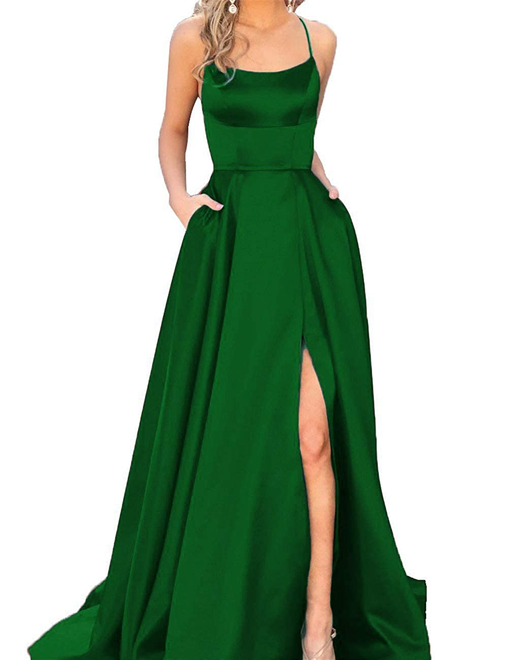 Dark Green Fanciest Women's Halter Slit Satin Prom Dresses Long Backless Evening Formal Gowns