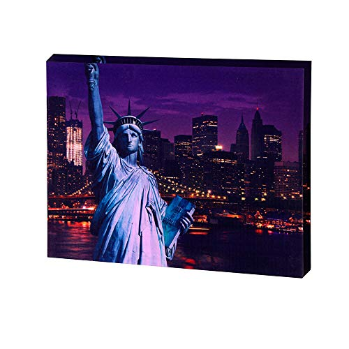 Modern Canvas Print Wall Art Statue of Liberty Printed New York Cityscape Canvas Wall Decor with LED Lights 12x16 -