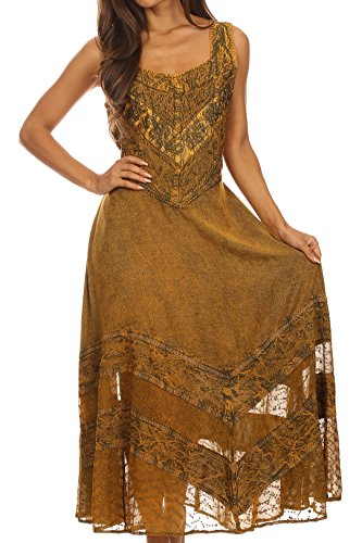 Sakkas 15225 - Zendaya Stonewashed Rayon Embroidered Floral Vine Sleeveless V-Neck Dress - Gold - - For Uk Sale Gold Solid