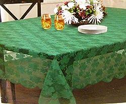 St. Patricks Day Green Lace Shamrock Tablecloth Scalloped Border (52x70)